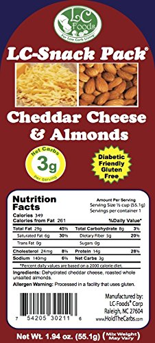 Cheddar & Almond Snack Pack (6 Pack) - LC Foods - Low Carb - All Natural - Paleo - Gluten Free - No Sugar - Diabetic Friendly - 1.94 oz Each