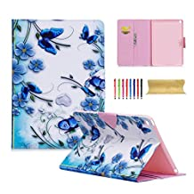 iPad Air 2 Case, UUcovers PU leather Stand Slim Wallet Case Folio Flip Magnetic Closure Book Smart Cover with Auto Sleep/Wake Feature for Apple iPad Air 2 9.7 Inch (iPad 6) 2014, Blue Butterfly Flower