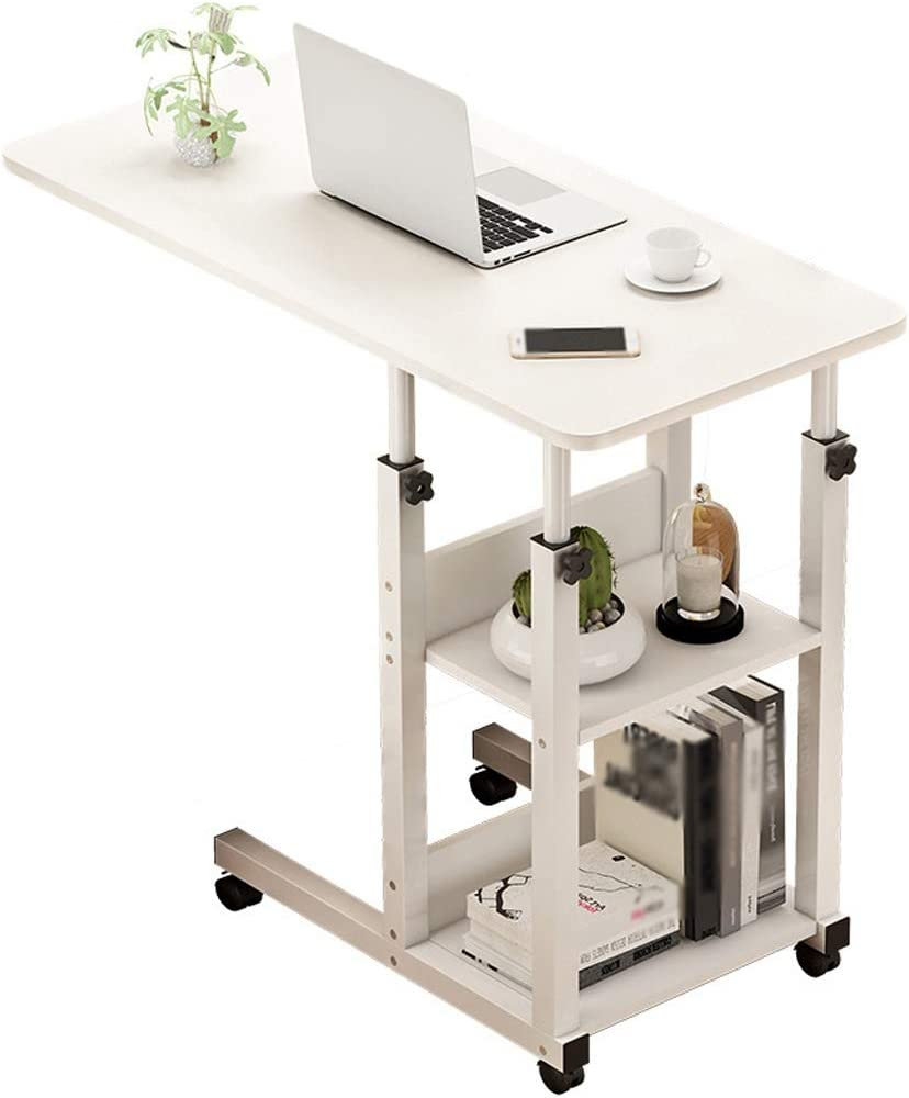 Height Adjustable Mobile Notebook Desk Sofa Side Table for Hospital Home Use Foldable Adjustable to 3 Different Heights CHICTI Overbed Tables for Eating and Laptops