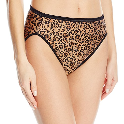Vanity Fair Women's Illumination Hi Cut Panty 13108, Toffee Leopard Print, Large/7 (Print Briefs Womens)