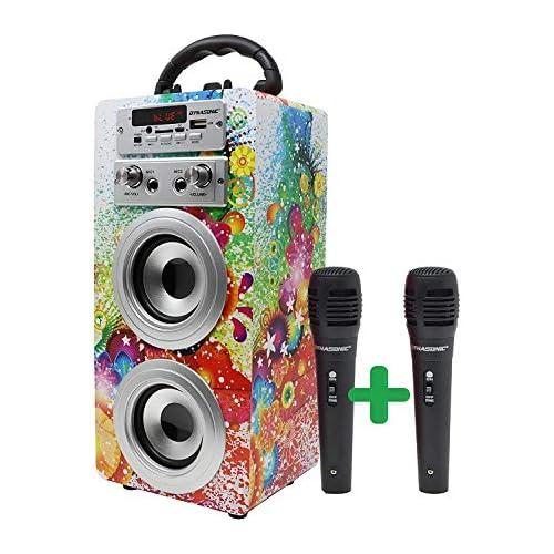 chollos oferta descuentos barato DYNASONIC Altavoz Bluetooth Portátil con Karaoke Radio FM y Lector USB SD Modelo 1 2 Micrófonos
