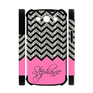 Personalized Rose Black Grey Chevron Pattern(NOT ACTUAL GLITTER) Unique Custom Samsung Galaxy S3 I9300 Best Durable PVC Two-In-One White/Black Cover Case