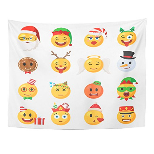VaryHome Tapestry Yellow Holiday of Christmas Emoticons Festive Collection Characters Emoji Face in Cartoon Style on White Home Decor Wall Hanging for Living Room Bedroom Dorm 60x80 ()