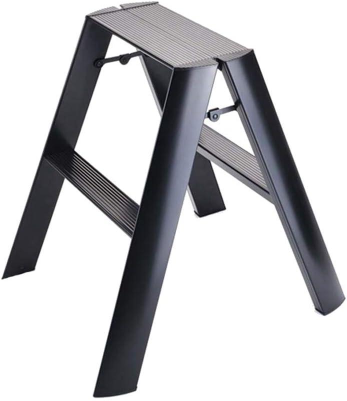 FCXBQ Folding Steps Premium 2 Step Non-Slip Ladder Kitchen Stool Foldable Stepladder Portable Home Safety Ladders 100kg Capacity (Black)