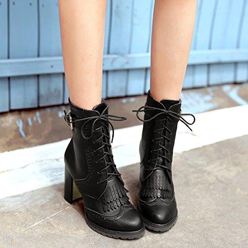YE Damen Spitze Blockabsatz Plateau High Heel Stiefeletten mit Schnürung und Schnallen Elegant Retro Herbst Winter Short Ankle Boots Schwarz