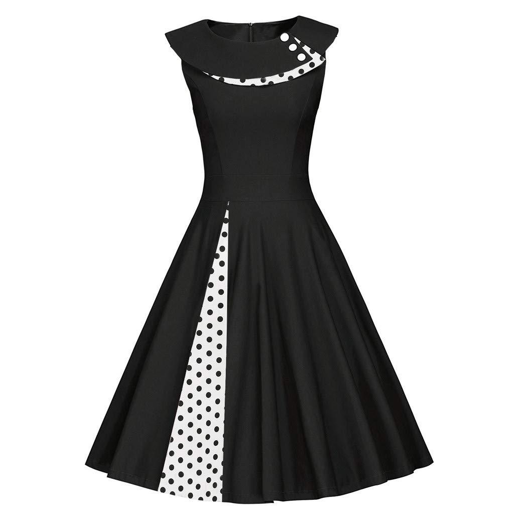 Sttech1 New Style Sleeveless Retro Dress Polka Dot Print A-Line Stitching Swing Skirt