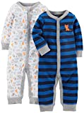 Simple Joys by Carter's Baby Boys' 2-Pack Cotton Footless Sleep and Play, Animals/Blue Stripe, 0-3 Months