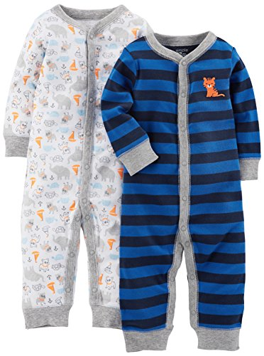 (Simple Joys by Carter's Baby Boys' 2-Pack Cotton Footless Sleep and Play, Animals/Blue Stripe, 3-6 Months )