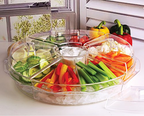 Circleware Acrylic 8 Section Cold Chip & Dip Salad Snack Dessert Bowl Set with Lids & Ice Serving Preserving Tray Dish, 16.5