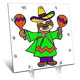 3dRose All Smiles Art - Music - Cute Funny Sloth Shaking Maracas Cartoon - 6x6 Desk Clock (dc_293162_1)