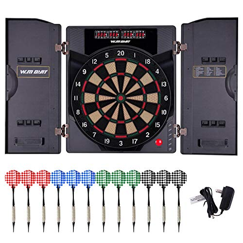 WIN.MAX Electronic Soft Tip Dartboard Set with Cabinet, 12 Darts LED ()