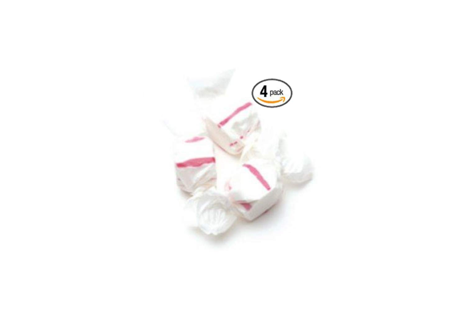 Red & White Peppermint Salt Water Taffy 48 Ounces by Sweets (4 Pack)