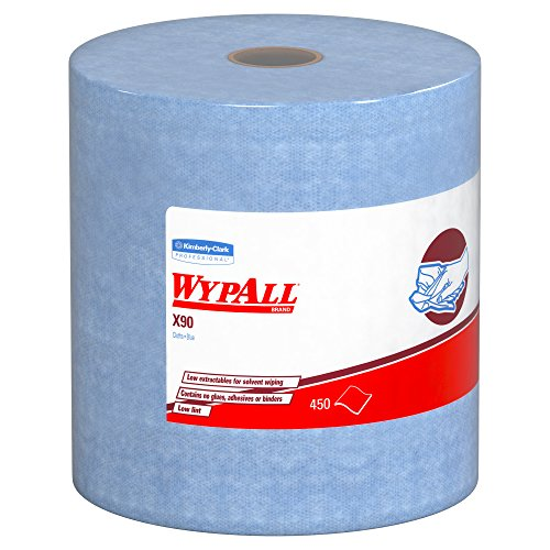Wypall X90 Extended Use Cloths (12889), Reusable Wipes Jumbo Roll, Blue Denim, 1 Roll/Case, 450 Sheets/Roll
