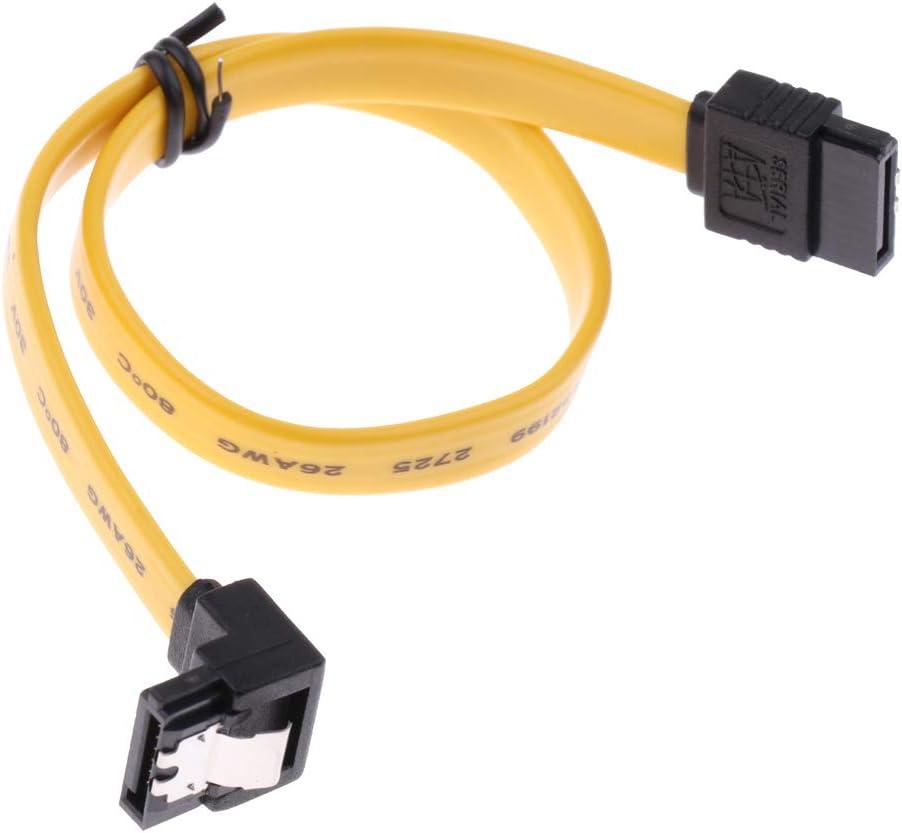 Baosity 4Pcs Serial ATA SATA3 HDD Hard Drive Signal Cable Right Angle to Straight Yellow