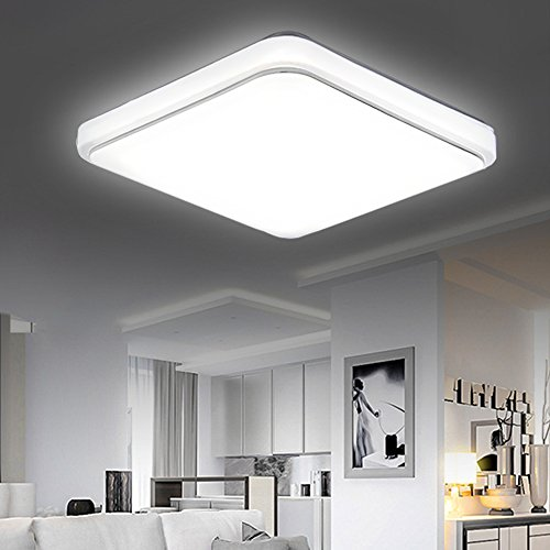 Ceiling Kitchen (KINGSO LED Flush Mount Ceiling Light 11.81'' 24W (200W Incandescent Equivalent) 5000K Pure White 2400Lumens Dimmable Square Ceiling Lamp for Kitchen Living Room Hotel)