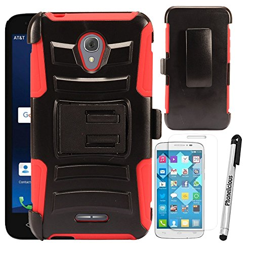 For ALCATEL RAVEN A574BL Case, Phonelicious Xtreme Armor [Heavy Duty] Hybrid Dual Layer Kickstand Belt [Holster Clip] Combo Rugged Tuff Free Screen Protector & Stylus (RED XC)