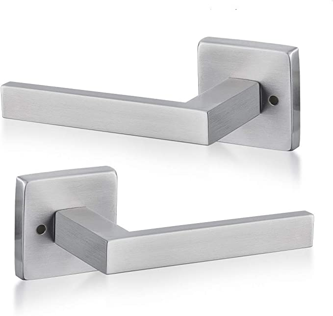 D Shaped Lever Door Handles on Rectangular Latch Plate Satin Stainless Steel