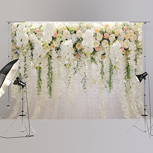 Bridal Shower Large Wedding Floral Wall Backdrop White and Green Rose 3D Flowers Curtain Dessert Table Decoration Blush Background for Photography XT-6749 by FiVan