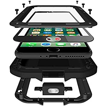 CarterLily iPhone 7 Plus Case, iPhone 8 Plus Case, Full Body Shockproof Dustproof Waterproof Aluminum Alloy Metal Gorilla Glass Cover Case for Apple iPhone 7 8 Plus 5.5 inch - Black