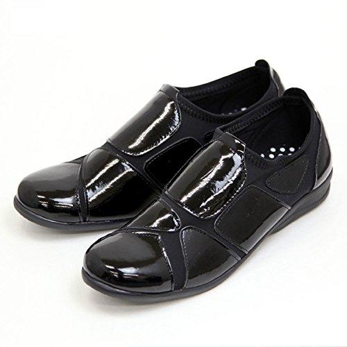 レディース ウォーキングシューズ 履きやすい 外反母趾 靴 ストレッチシューズ エナメル SC1802 ブラック Lサイズ