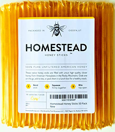 Homestead Honey Sticks, All Natural and Pure American Honey Stix Made with Real Clover Honey (100 Pack) (Honey Champlain Valley)