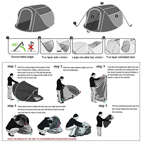 Amazon com : DEVAISE Pop Up Tents for Camping 3-4 Person, Automatic