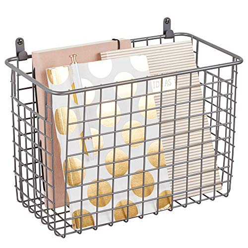 (mDesign Portable Metal Farmhouse Wall Decor Storage Organizer Basket Bin with Handles for Hanging in Entryway, Mudroom, Bedroom, Bathroom, Laundry Room - Wall Mount Hooks Included, Large - Graphite)