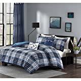OSD 5pc Boys Classic Blue White Tartan Comforter Full Queen Set, Navy Lumberjack Pattern Madras Bedding Modern College Dorm Solid Color Cabin Lodge Southwest, Polyester