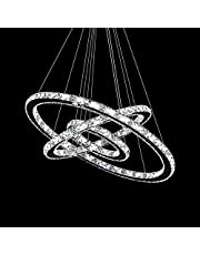 MCTECH® 72W luxe moderne kristallen hanger kroonluchter hanglamp led plafondlamp met drie ringen (72W koud wit)