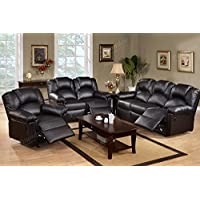 3Pcs Modern Black Bonded Leather Motion Reclining Sofa Loveseat Glider Recliner Chair Set for Living Room
