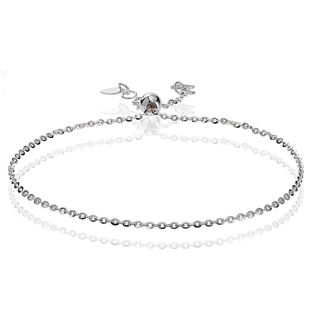 Bria Lou 14k White Gold 1.4mm Italian Diamond-Cut Cable Adjustable Chain Bracelet, 7-9 Inches by Bria Lou