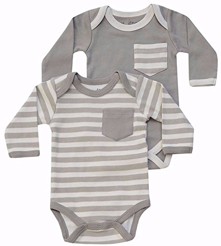 Cat & Dogma - Certified Organic Baby Clothing - Bodysuit 2 Pack - Moon/Natural (6-12 Months)