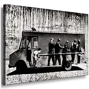 Banksy Graffiti Street Art -1149, Size 100x70x2 Cm. Printed On Canvas Stretched On A Wooden Frame.