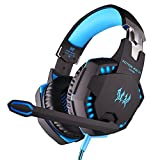KOTION EACH G2100 PC Gaming Headset Bass Earphones 3.5mm Headphone LED Light Stereo Over-Ear Headphone with microphone For PC/Laptop Computer PS4 Xbox One/Xbox One S/Smartphone (Black Blue)