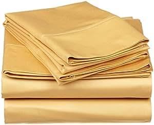 Dreamz ropa de cama muy suave 650hilos de algodón egipcio hoja plana con fundas de almohada Extra (Reino Unido doble, oro sólido 100% algodón 650TC superficie superior hoja