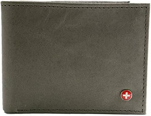 Alpine Swiss Men's RFID Blocking Leather Multi Card High Capacity Bifold Wallet