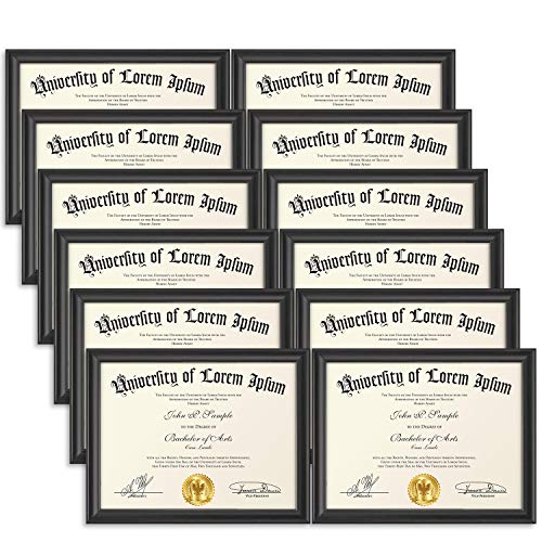 (Icona Bay 8.5x11 Document Frame (12 Pack, Black), Black Certificate Frame 8.5 x 11, Composite Wood Diploma Frame for Walls or Tables, Set of 12 Lakeland Collection)