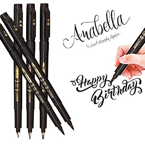 (Hand Lettering Pens, Calligraphy Pen Brush Markers Set, Refillable, for Beginners Writing, Signature, Art Drawings, Illustrations, Bullet Journaling and More, Black Ink Pens Art Marker (5 Pack) )