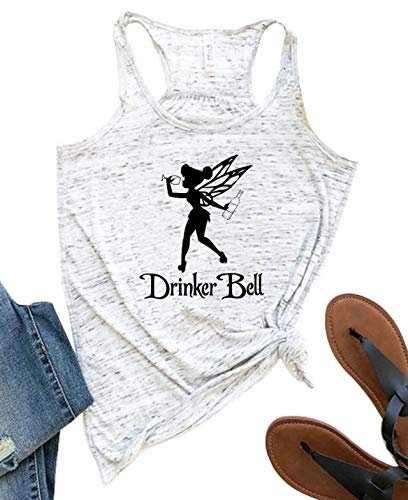 Drinker Bell Tank Tops Women Cute Fairy Drinking Wine Shirts Funny Muscle Vest Top Casual (White, Small)