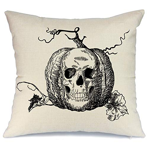 AENEY Wicked Halloween Skull Pumpkin Throw Pillow Cover 18 x 18 for Couch Wicked Vintage Fall Decorations Farmhouse Home Decor Autumn Black Decorative Pillowcase Cotton Linen Square Cushion Case