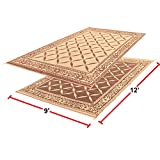 EasyGoProducts RV Camping Mats – 9'x 12' Outdoor Patio Mat – Reversible RV Mat – Carrying Strap