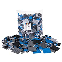 Premium Black, Blue, Gray, and Dark Gray Space Themed Building Brick and Platform Set - 1,000 Piece, 9 shapes - Compatible with All Major Brands