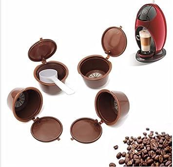 Cápsulas de café recargables reutilizables para máquina de café Dolce Gusto, 4 unidades + cuchara: Amazon.es: Hogar