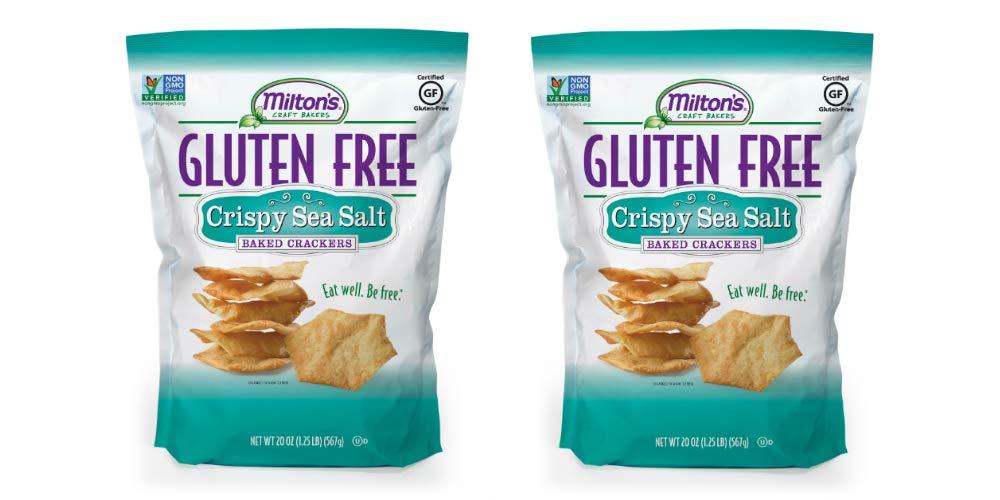 Milton's Gluten Free Crackers (Crispy Sea Salt). Crispy & Gluten-Free Grain Baked Crackers (Pack of 2, 20 oz). by Milton's Craft Bakers