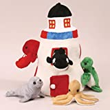 Plush Lighthouse with Animals - Five (5) Stuffed Sea Animals (Orca, Lobster, Sea Turtle, Seal, Octopus) in Play Lighthouse Carrying Case