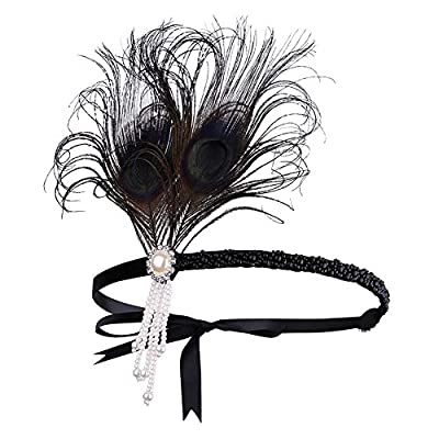 BAOBAO 1920s Womens Feather Flapper Headband Pearl Tassel Hairband Great Gatsby Headpiece