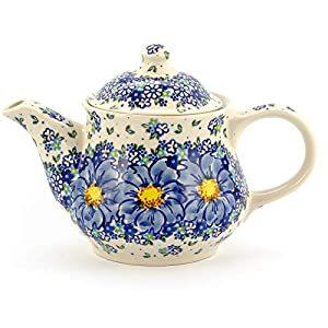 Polish Pottery, Handpainted and Handcrafted Ceramic Teapot 1300ml ― Blue Flowers Artistic Pattern (A116)