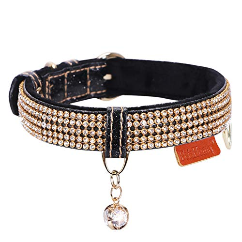PetsHome Cat Collar, Dog Collar, [Bling Rhinestones] Premium PU Leather with Pendant Adjustable Collars for Small Dog and Cat