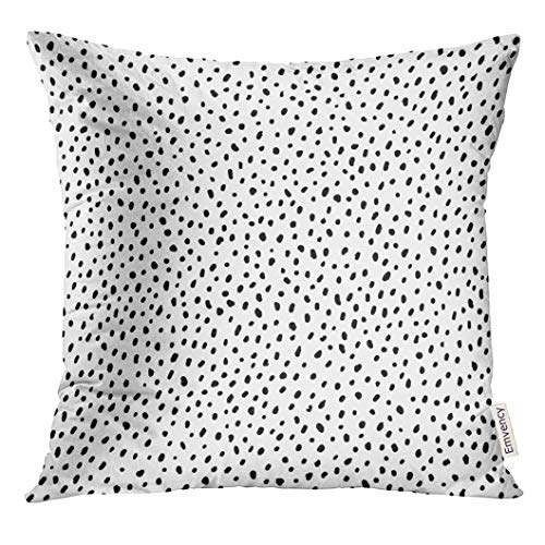 VANMI Throw Pillow Cover Spot Polka Dot Simple Structure Abstract with Many Scattered Pieces Black and White Design for Scatter Decorative Pillow Case Home Decor Square 16x16 Inches Pillowcase