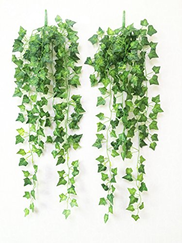 Yatim 90 CM Sweetpotato Ivy Vine Artificial Plants Greeny Chain Wall Hanging Leaves For Home Room Garden Wedding Garland Outside Decoration Pack of (Potato Vine)